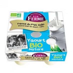 Les yaourts (vache)-Le yaourt nature par 4- bio-LE P TIT GALLO