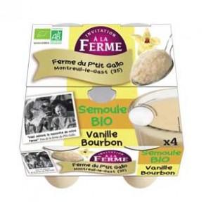 """Le frais-Semoules bio """"au lait"""" à la vanille - 4*100 g-LE P TIT GALLO"""