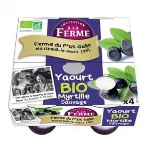 Les yaourts (vache)-Les yaourts à la myrtille par 4- bio-LE P TIT GALLO