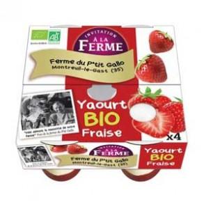 Les yaourts (vache)-Les yaourts aux Fraises par 4 -bio-LE P TIT GALLO