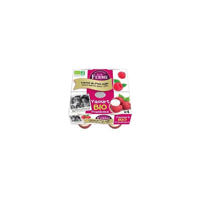 Les yaourts (vache)-Les yaourts Framboise bio -Par 4-LE P TIT GALLO