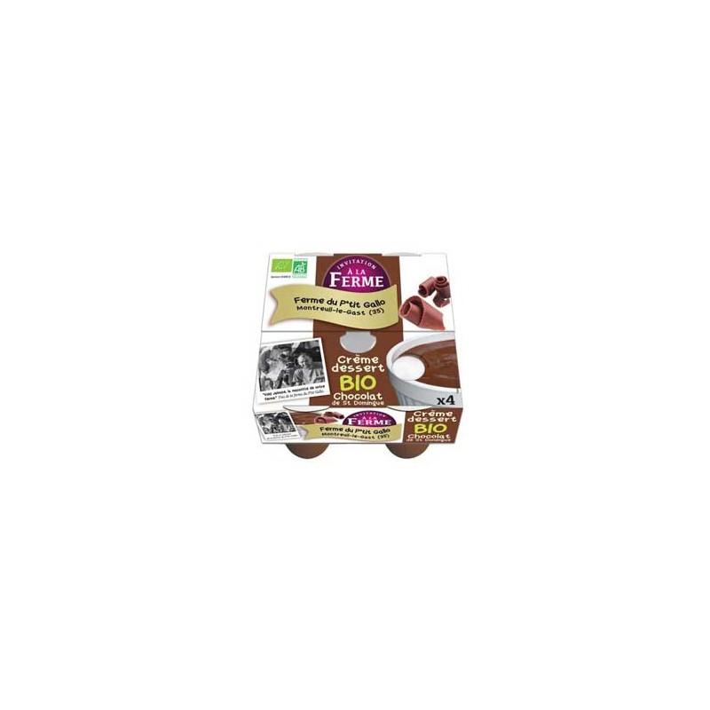 Crèmes desserts, riz au lait-crème chocolat de St Domingue bio - Par 4-LE P TIT GALLO