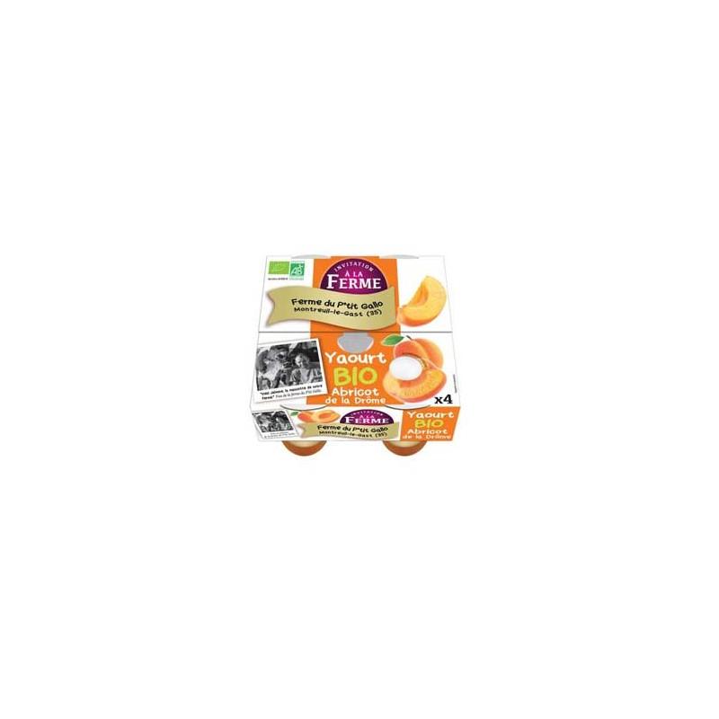 Les yaourts (vache)-Les yaourts à l'abricot- bio par 4-LE P TIT GALLO