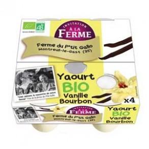 Les yaourts (vache)-Yaourt bio aromatisé vanille- 4*125 g-LE P TIT GALLO