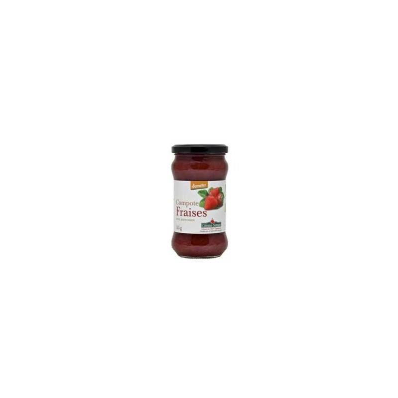 Confitures, crêpes et galettes bio-compote Fraises bio - 315 g-COTEAUX NANTAIS