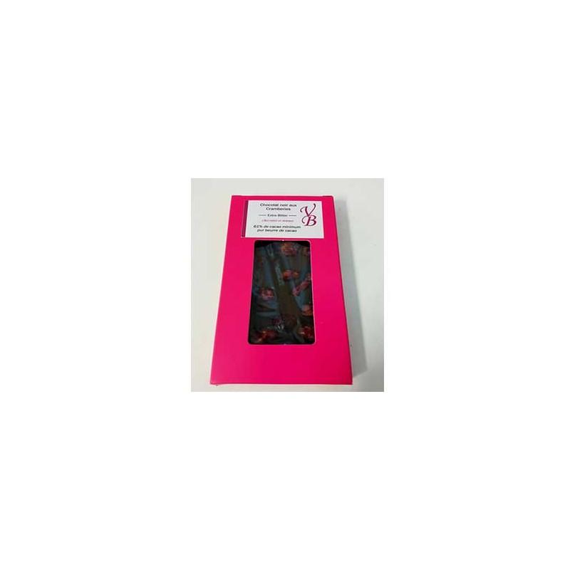 Chocolat noir-Tablette chocolat noir et cramberies- 95 g-Vanessa et Baptiste