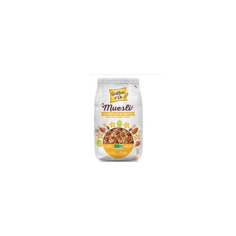 Produits Bio-muesli 4 céréales bio - 500 g-GRILLON D'OR