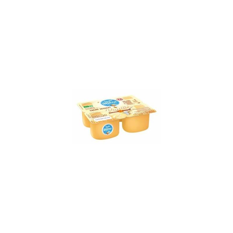 Crèmes desserts, riz au lait-Crème dessert vanille bio- 4 pots de 100 grs-BIODIS FRAIS