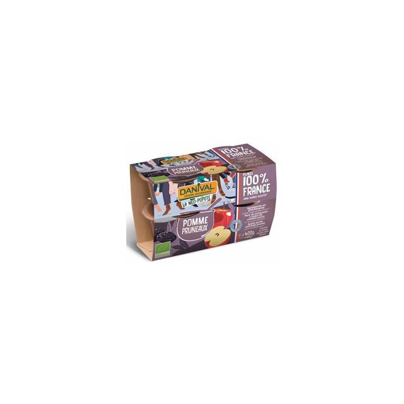 Compotes et purée de fruits-Purée pomme pruneaux bio - 4*100 grs-BIODIS