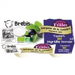 Les yaourts (brebis)-Yaourt fermier myrtille bio-Brebis-BERGERIE DE LA CORBIERE